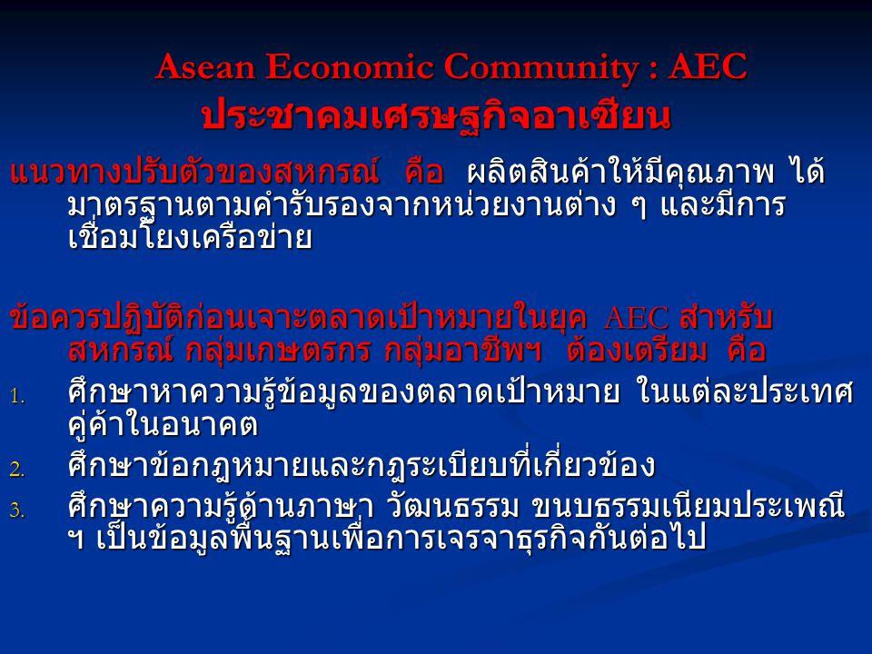 Asean Economic Community : AEC ประชาคมเศรษฐกิจอาเซียน Asean Economic Community : AEC ประชาคมเศรษฐกิจอาเซียน แนวทางปรับตัวของสหกรณ์ คือ ผลิตสินค้าให้มีคุณภาพ ได้ มาตรฐานตามคำรับรองจากหน่วยงานต่าง ๆ และมีการ เชื่อมโยงเครือข่าย ข้อควรปฏิบัติก่อนเจาะตลาดเป้าหมายในยุค AEC สำหรับ สหกรณ์ กลุ่มเกษตรกร กลุ่มอาชีพฯ ต้องเตรียม คือ 1.