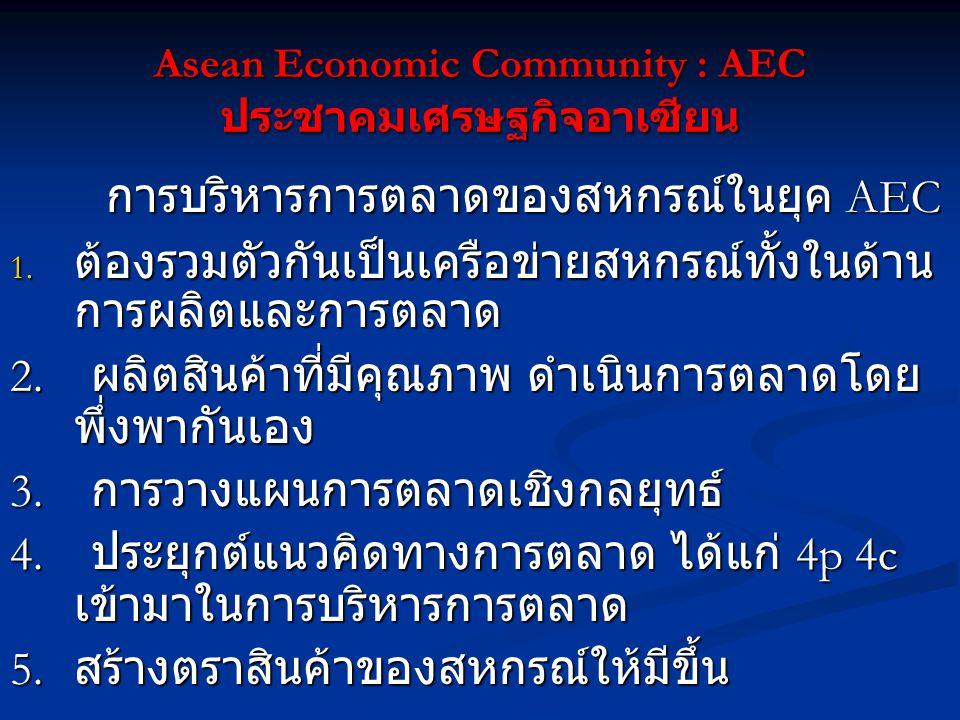 Asean Economic Community : AEC ประชาคมเศรษฐกิจอาเซียน การบริหารการตลาดของสหกรณ์ในยุค AEC 1. ต้องรวมตัวกันเป็นเครือข่ายสหกรณ์ทั้งในด้าน การผลิตและการตล