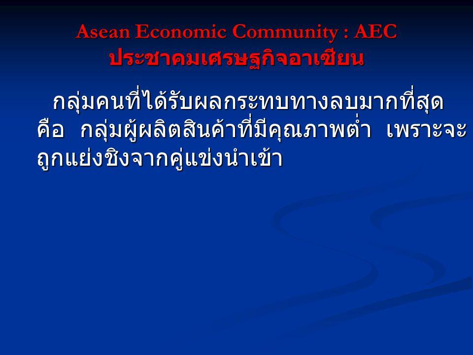 Asean Economic Community : AEC ประชาคมเศรษฐกิจอาเซียน กลุ่มคนที่ได้รับผลกระทบทางลบมากที่สุด คือ กลุ่มผู้ผลิตสินค้าที่มีคุณภาพต่ำ เพราะจะ ถูกแย่งชิงจากคู่แข่งนำเข้า