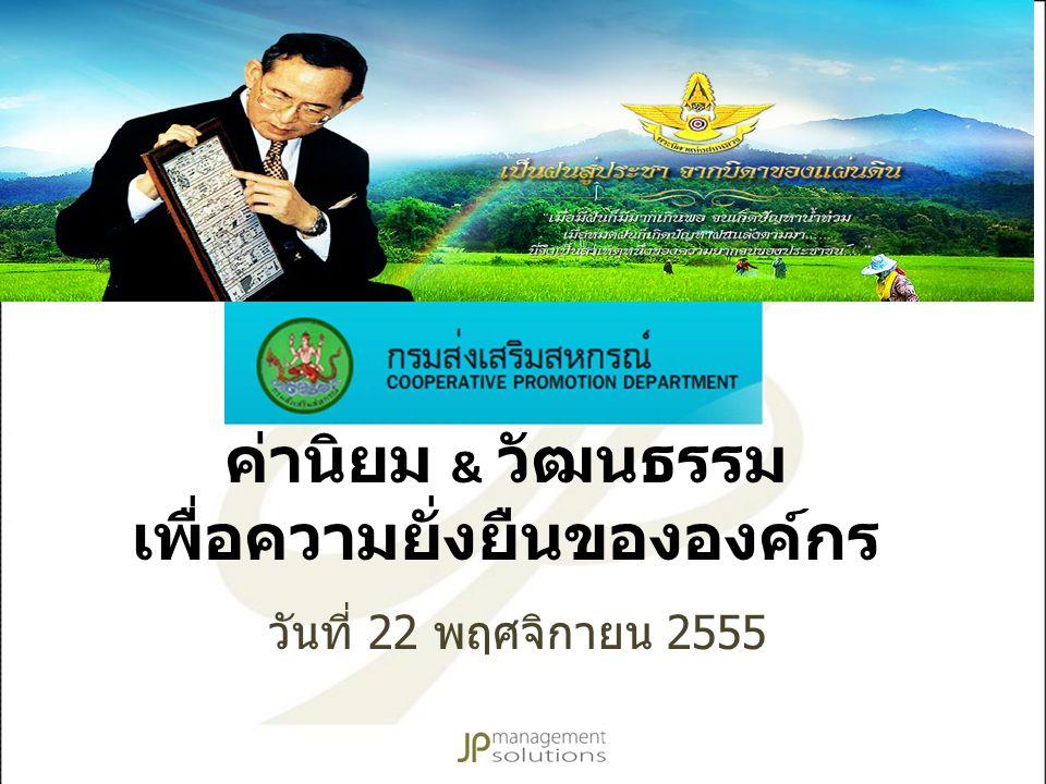 ค่านิยม & วัฒนธรรม เพื่อความยั่งยืนขององค์กร วันที่ 22 พฤศจิกายน 2555