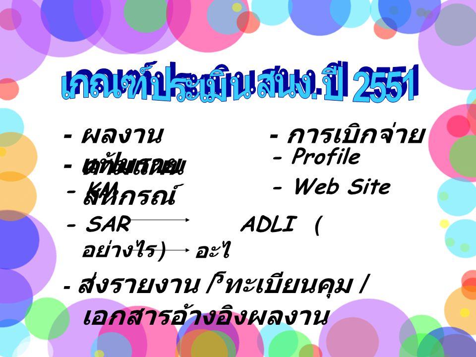 - ผลงาน ตามแผน - การเบิกจ่าย - แฟ้มราย สหกรณ์ - Profile - KM - Web Site - SAR ADLI ( อย่างไร ) อะไ ร - ส่งรายงาน / ทะเบียนคุม / เอกสารอ้างอิงผลงาน