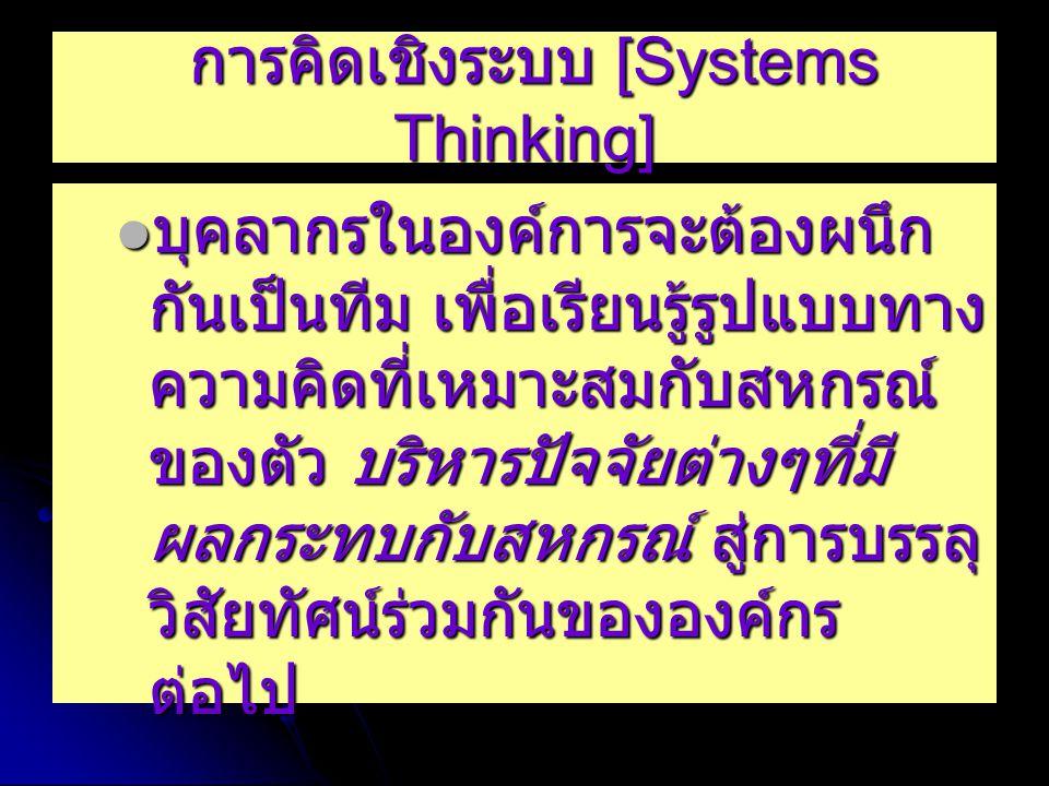 การคิดเชิงระบบ [Systems Thinking] การคิดเชิงระบบ [Systems Thinking] บุคลากรในองค์การจะต้องผนึก กันเป็นทีม เพื่อเรียนรู้รูปแบบทาง ความคิดที่เหมาะสมกับสหกรณ์ ของตัว บริหารปัจจัยต่างๆที่มี ผลกระทบกับสหกรณ์ สู่การบรรลุ วิสัยทัศน์ร่วมกันขององค์กร ต่อไป บุคลากรในองค์การจะต้องผนึก กันเป็นทีม เพื่อเรียนรู้รูปแบบทาง ความคิดที่เหมาะสมกับสหกรณ์ ของตัว บริหารปัจจัยต่างๆที่มี ผลกระทบกับสหกรณ์ สู่การบรรลุ วิสัยทัศน์ร่วมกันขององค์กร ต่อไป