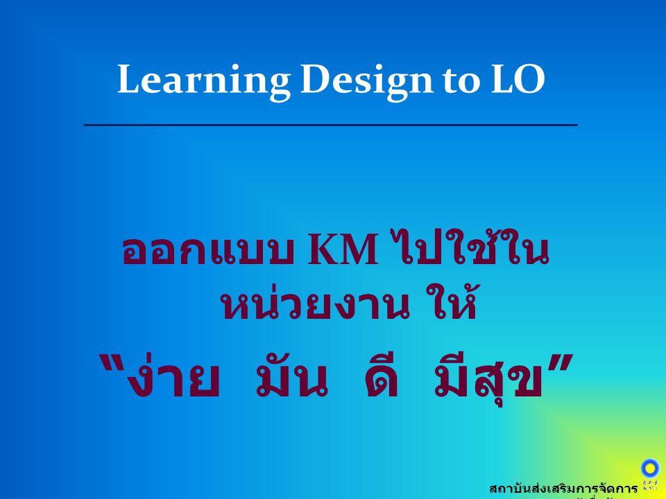 """ออกแบบ KM ไปใช้ใน หน่วยงาน ให้ """" ง่าย มัน ดี มีสุข """" Learning Design to LO สถาบันส่งเสริมการจัดการ ความรู้เพื่อสังคม"""