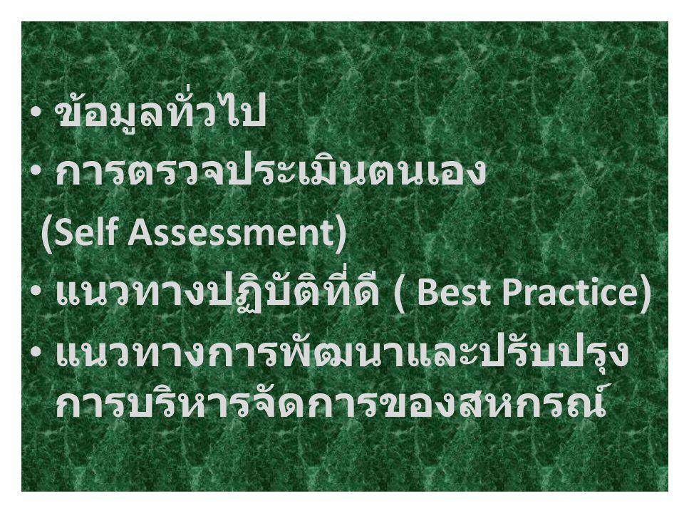 ข้อมูลทั่วไป การตรวจประเมินตนเอง (Self Assessment) แนวทางปฏิบัติที่ดี ( Best Practice) แนวทางการพัฒนาและปรับปรุง การบริหารจัดการของสหกรณ์
