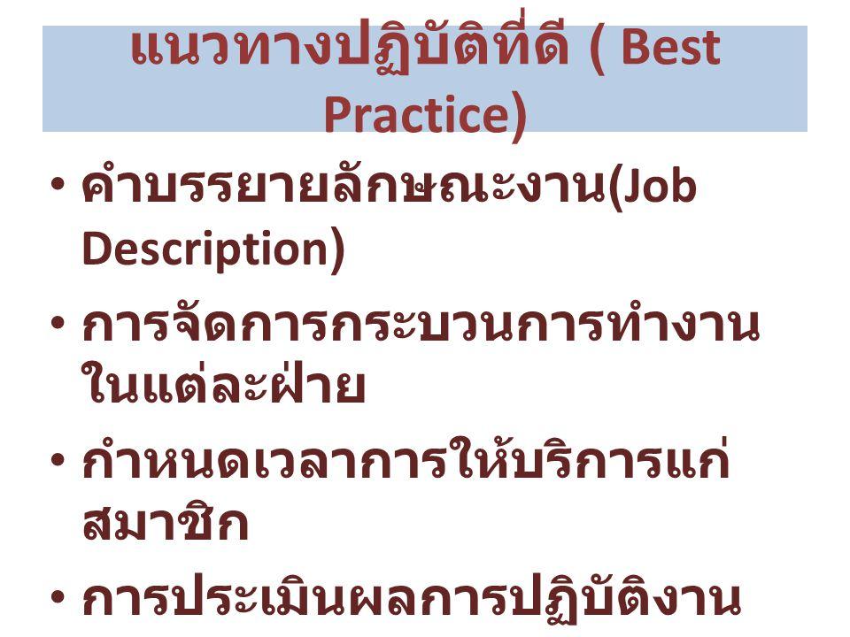 แนวทางปฏิบัติที่ดี ( Best Practice) คำบรรยายลักษณะงาน (Job Description) การจัดการกระบวนการทำงาน ในแต่ละฝ่าย กำหนดเวลาการให้บริการแก่ สมาชิก การประเมิน