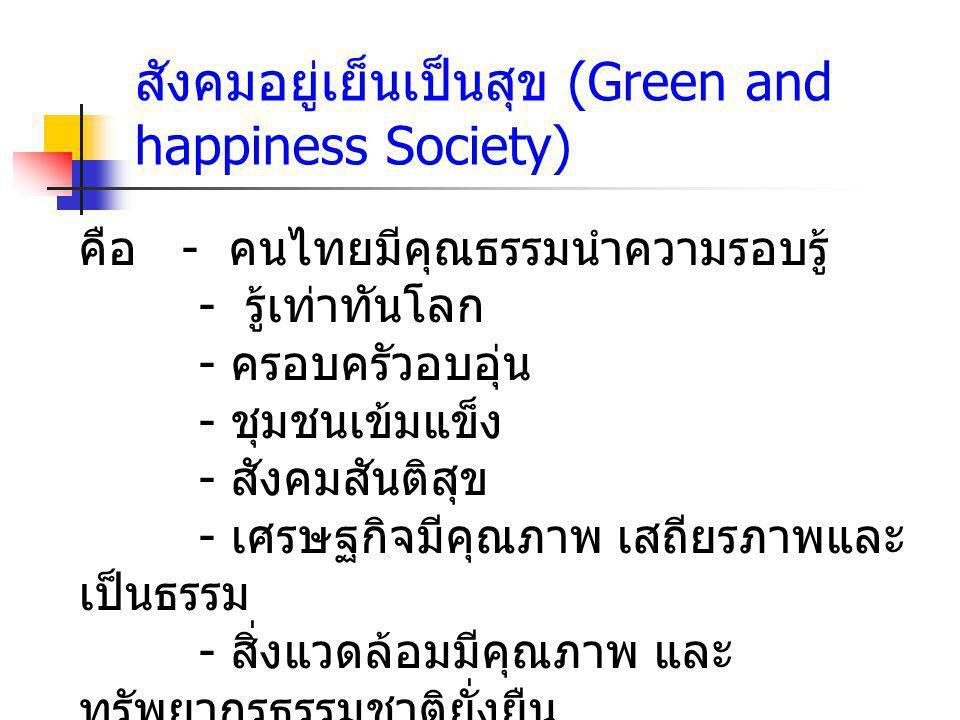 - อยู่ภายใต้ระบบบริหารจัดการที่มีธรร มาภิบาล - ดำรงไว้ซึ่งระบอบประชาธิปไตรอันมี พระมหากษัตริย์ ทรงเป็นประมุข - อยู่ได้อย่างมีศักดิ์ศรี สังคมอยู่เย็นเป็นสุข (Green and happiness Society) ( ต่อ )