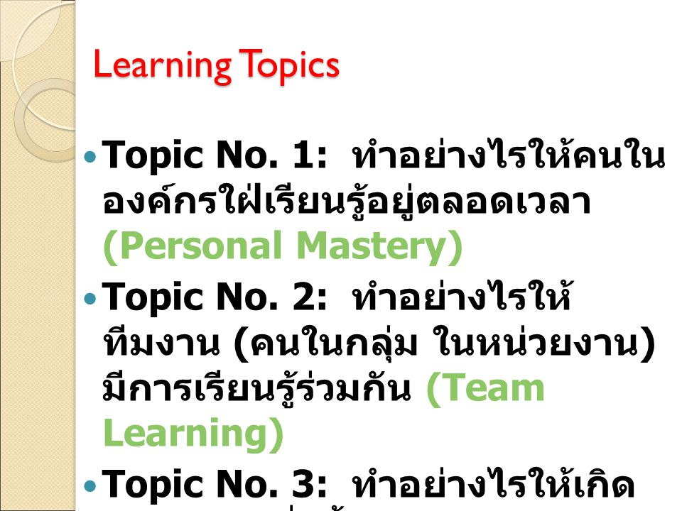 Learning Topics Topic No.
