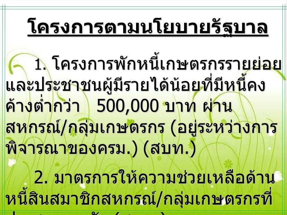 โครงการตามนโยบายรัฐบาล โครงการตามนโยบายรัฐบาล 1. โครงการพักหนี้เกษตรกรรายย่อย และประชาชนผู้มีรายได้น้อยที่มีหนี้คง ค้างต่ำกว่า 500,000 บาท ผ่าน สหกรณ์