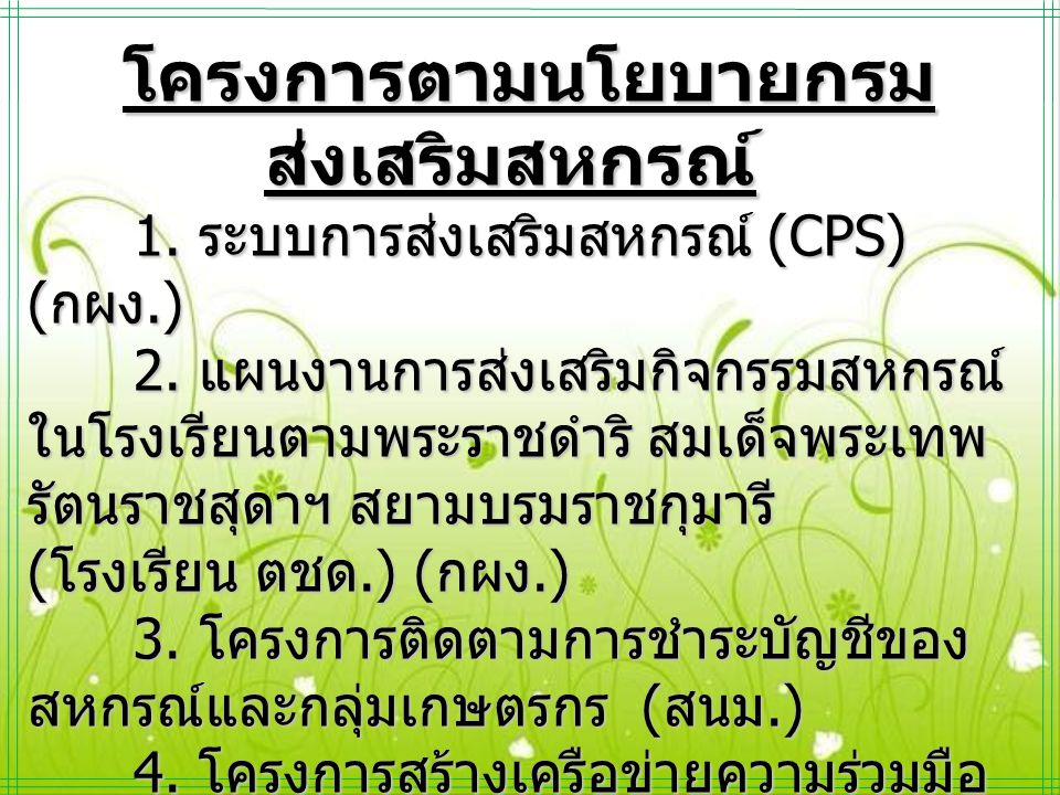 โครงการตามนโยบายกรม ส่งเสริมสหกรณ์ 1. ระบบการส่งเสริมสหกรณ์ (CPS) ( กผง.) 2. แผนงานการส่งเสริมกิจกรรมสหกรณ์ ในโรงเรียนตามพระราชดำริ สมเด็จพระเทพ รัตนร