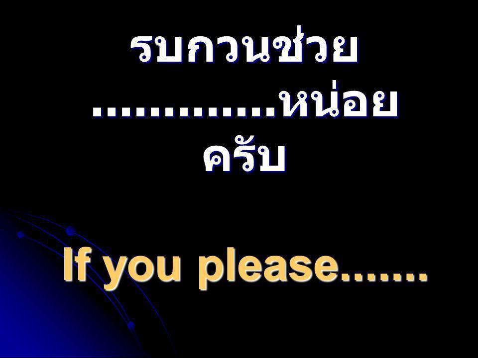 รบกวนช่วย............. หน่อย ครับ If you please.......