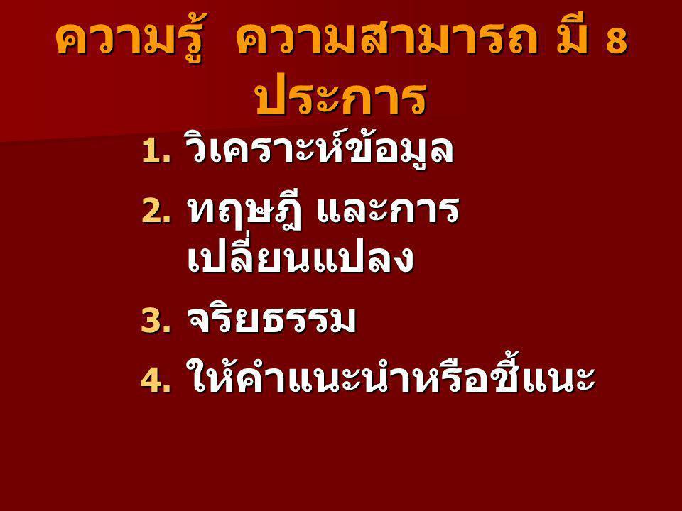ความรู้ ความสามารถ มี 8 ประการ 1.วิเคราะห์ข้อมูล 2.