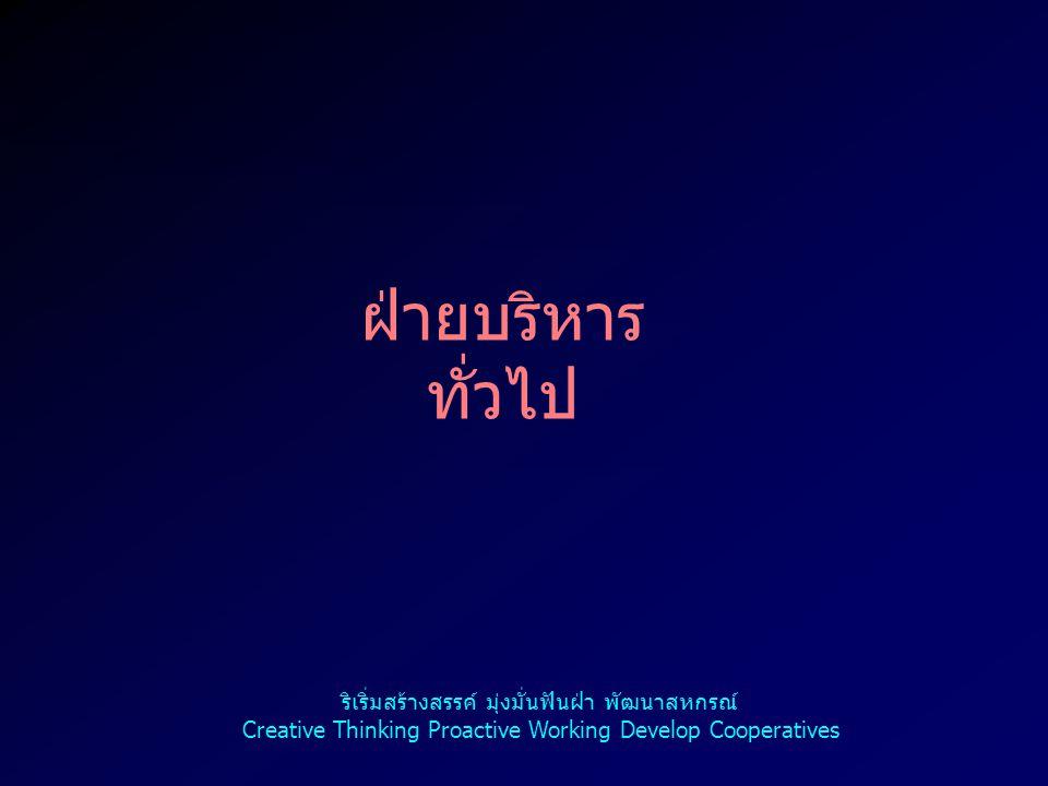 2 ฝ่ายบริหาร ทั่วไป ริเริ่มสร้างสรรค์ มุ่งมั่นฟันฝ่า พัฒนาสหกรณ์ Creative Thinking Proactive Working Develop Cooperatives