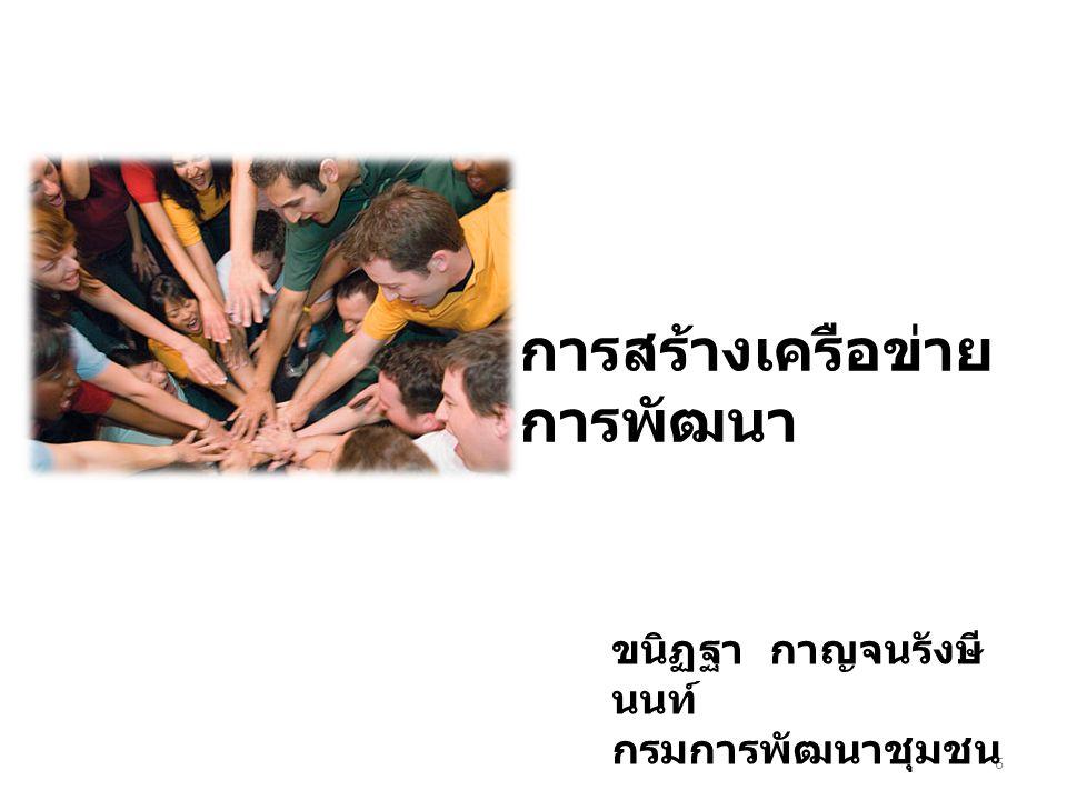การสร้างเครือข่าย การพัฒนา 6 ขนิฏฐา กาญจนรังษี นนท์ กรมการพัฒนาชุมชน