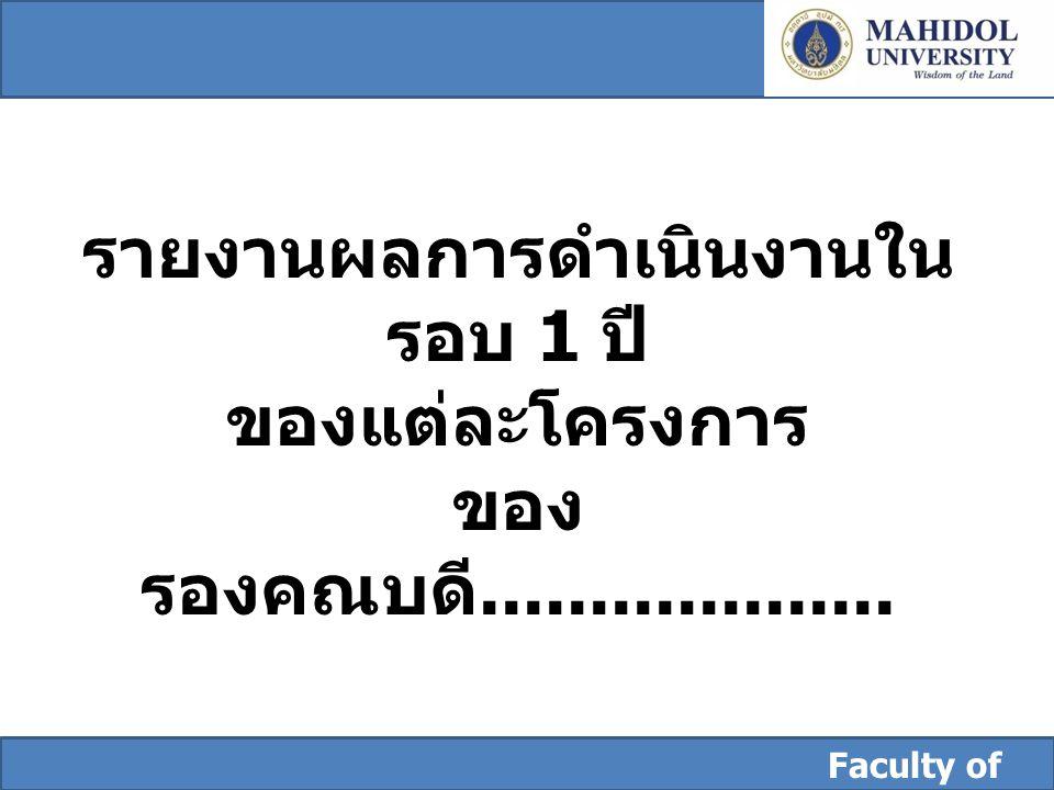 Faculty of Dentistry รายงานผลการดำเนินงานใน รอบ 1 ปี ของแต่ละโครงการ ของ รองคณบดี...................