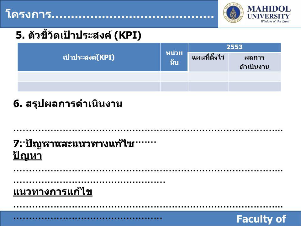 Faculty of Dentistry 5. ตัวชี้วัดเป้าประสงค์ (KPI) เป้าประสงค์ ( KPI) หน่วย นับ 2553 แผนที่ตั้งไว้ ผลการ ดำเนินงาน 6. สรุปผลการดำเนินงาน..............