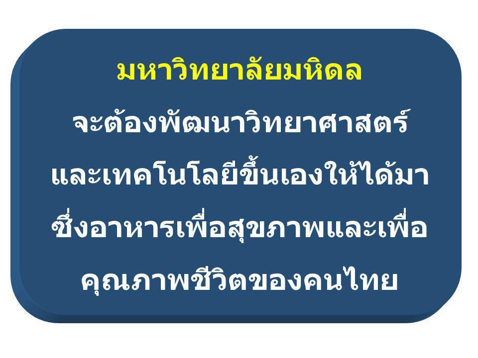 มหาวิทยาลัยมหิดล จะต้องพัฒนาวิทยาศาสตร์ และเทคโนโลยีขึ้นเองให้ได้มา ซึ่งอาหารเพื่อสุขภาพและเพื่อ คุณภาพชีวิตของคนไทย