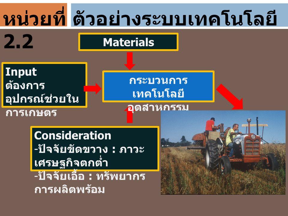 ตัวอย่างระบบเทคโนโลยี Materials Input ต้องการ อุปกรณ์ช่วยใน การเกษตร Consideration - ปัจจัยขัดขวาง : ภาวะ เศรษฐกิจตกต่ำ - ปัจจัยเอื้อ : ทรัพยากร การผล
