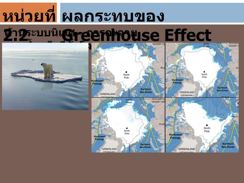 ผลกระทบของ Greenhouse Effect ด้านระบบนิเวศ - การละลาย ของน้ำแข็งที่ขั้วโลก หน่วยที่ 2.2