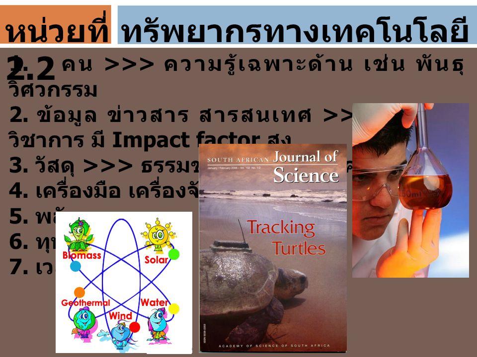 ทรัพยากรทางเทคโนโลยี 1. คน >>> ความรู้เฉพาะด้าน เช่น พันธุ วิศวกรรม 2. ข้อมูล ข่าวสาร สารสนเทศ >>> รายงาน วิชาการ มี Impact factor สูง 3. วัสดุ >>> ธร