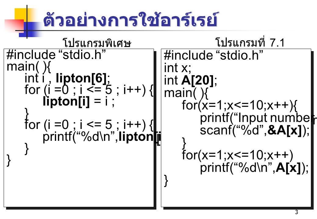 3 ตัวอย่างการใช้อาร์เรย์ #include stdio.h main( ){ int i, lipton[6]; for (i =0 ; i <= 5 ; i++) { lipton[i] = i ; } for (i =0 ; i <= 5 ; i++) { printf( %d\n ,lipton[i]); } #include stdio.h main( ){ int i, lipton[6]; for (i =0 ; i <= 5 ; i++) { lipton[i] = i ; } for (i =0 ; i <= 5 ; i++) { printf( %d\n ,lipton[i]); } #include stdio.h int x; int A[20]; main( ){ for(x=1;x<=10;x++){ printf( Input number %d = ,x); scanf( %d ,&A[x]); } for(x=1;x<=10;x++) printf( %d\n ,A[x]); } #include stdio.h int x; int A[20]; main( ){ for(x=1;x<=10;x++){ printf( Input number %d = ,x); scanf( %d ,&A[x]); } for(x=1;x<=10;x++) printf( %d\n ,A[x]); } โปรแกรมพิเศษ โปรแกรมที่ 7.1