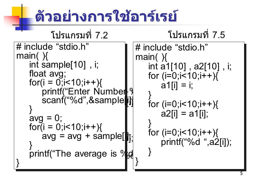 5 ตัวอย่างการใช้อาร์เรย์ # include stdio.h main( ){ int sample[10], i; float avg; for(i = 0;i<10;i++){ printf( Enter Number %d : ,i); scanf( %d ,&sample[i]); } avg = 0; for(i = 0;i<10;i++){ avg = avg + sample[i]; } printf( The average is %d \n ,avg/10); } # include stdio.h main( ){ int sample[10], i; float avg; for(i = 0;i<10;i++){ printf( Enter Number %d : ,i); scanf( %d ,&sample[i]); } avg = 0; for(i = 0;i<10;i++){ avg = avg + sample[i]; } printf( The average is %d \n ,avg/10); } # include stdio.h main( ){ int a1[10], a2[10], i; for (i=0;i<10;i++){ a1[i] = i; } for (i=0;i<10;i++){ a2[i] = a1[i]; } for (i=0;i<10;i++){ printf( %d ,a2[i]); } # include stdio.h main( ){ int a1[10], a2[10], i; for (i=0;i<10;i++){ a1[i] = i; } for (i=0;i<10;i++){ a2[i] = a1[i]; } for (i=0;i<10;i++){ printf( %d ,a2[i]); } โปรแกรมที่ 7.2 โปรแกรมที่ 7.5