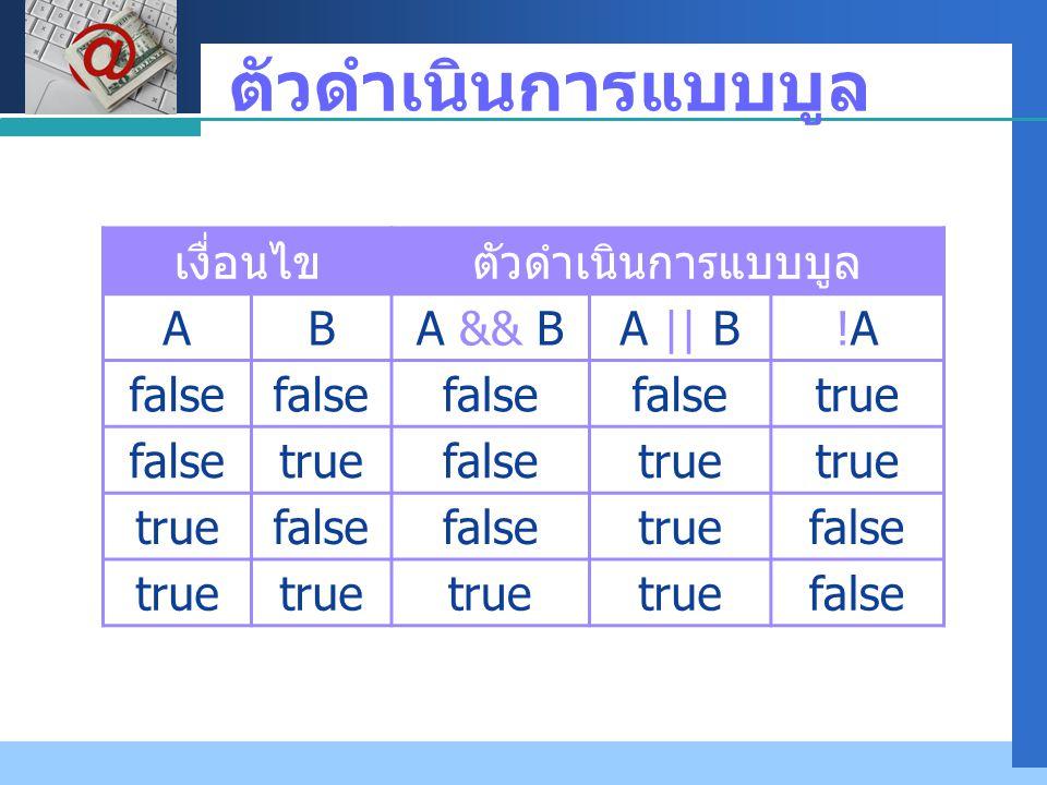 Company LOGO ตัวดำเนินการแบบบูล เงื่อนไขตัวดำเนินการแบบบูล ABA && BA || B!A!A false true falsetruefalsetrue false truefalse true false