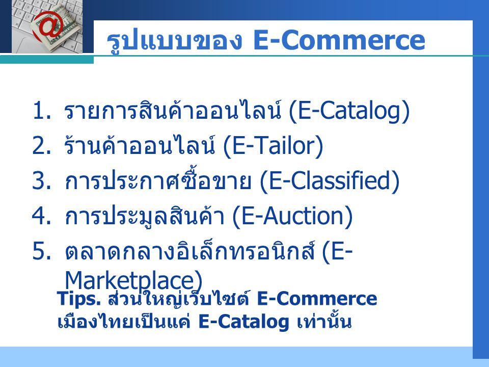 Company LOGO รูปแบบของ E-Commerce 1. รายการสินค้าออนไลน์ (E-Catalog) 2. ร้านค้าออนไลน์ (E-Tailor) 3. การประกาศซื้อขาย (E-Classified) 4. การประมูลสินค้