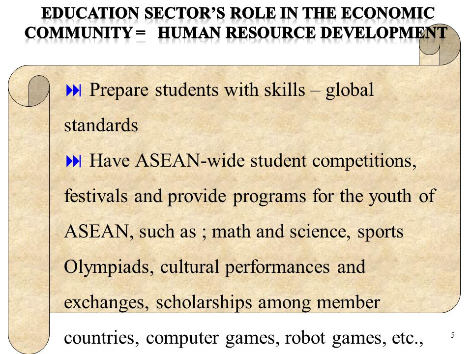 Education Sector's Role in Building ASEAN Identity in the Socio- Cultural Community *Promote ASEAN sense of community in each country * Compare cultural similarities and differences * Promote ASEAN Cultural Heritage, by using of multi-media * Preserve local-wisdom, traditional and ethnic crafts, * Promote cultural industries.