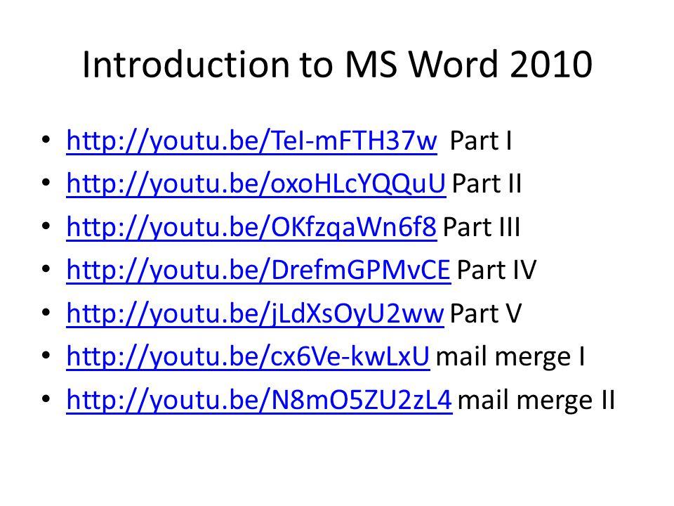 การใช้งาน Microsoft Word 2010 การสร้างแผนภูมิ http://youtu.be/RuRk7ds2sao http://youtu.be/RuRk7ds2sao การสร้าง chart http://youtu.be/ov_7F4PhpyMhttp://youtu.be/ov_7F4PhpyM การใส่เลขหน้า http://youtu.be/1VeoMN6O32c http://youtu.be/1VeoMN6O32c การใส่ลายน้ำ http://youtu.be/Iju5YCPMNdUhttp://youtu.be/Iju5YCPMNdU