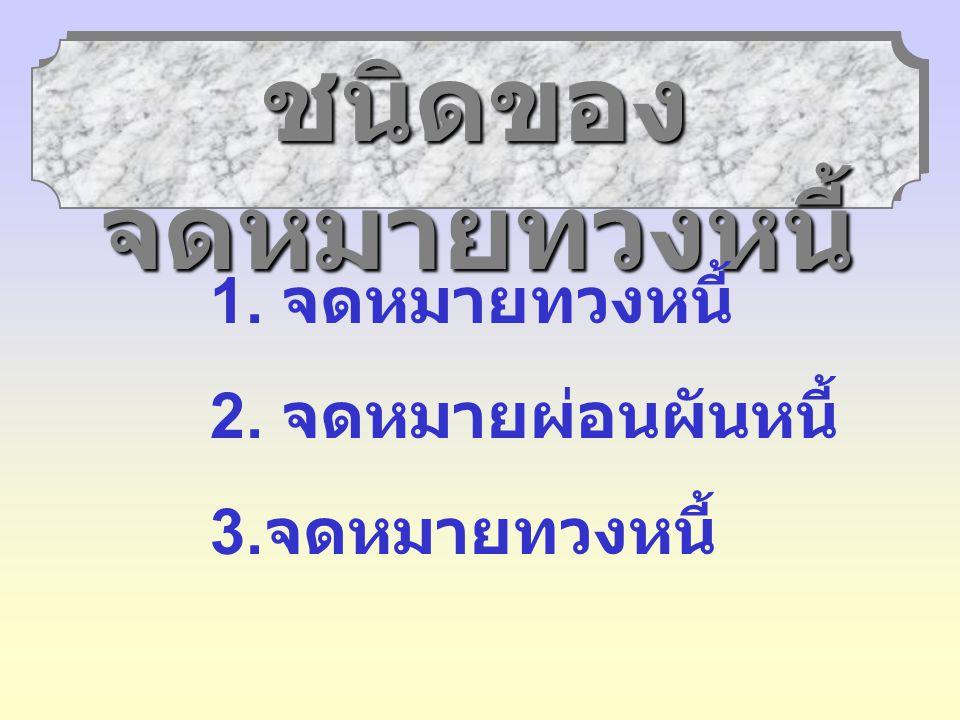 ลักษณะของ จดหมายทวงหนี้ 1. ใช้ข้อความที่แนบ เนียบ 2. ใช้ข้อความสุภาพ 3. คำนึงถึงความรู้สึก ของผู้อ่าน