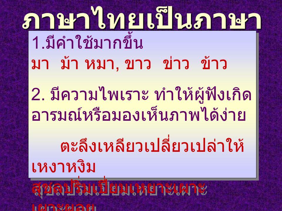 ภาษาไทยเป็นภาษา ดนตรี 1. มีคำใช้มากขึ้น มา ม้า หมา, ขาว ข่าว ข้าว 2. มีความไพเราะ ทำให้ผู้ฟังเกิด อารมณ์หรือมองเห็นภาพได้ง่าย ตะลึงเหลียวเปลี่ยวเปล่าใ