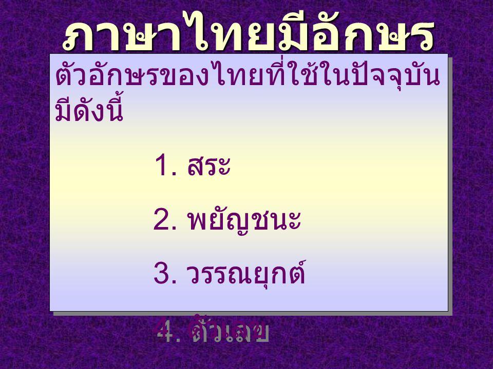ภาษาไทยมีอักษร เป็นของตนเอง ตัวอักษรของไทยที่ใช้ในปัจจุบัน มีดังนี้ 1. สระ 2. พยัญชนะ 3. วรรณยุกต์ 4. ตัวเลข ตัวอักษรของไทยที่ใช้ในปัจจุบัน มีดังนี้ 1