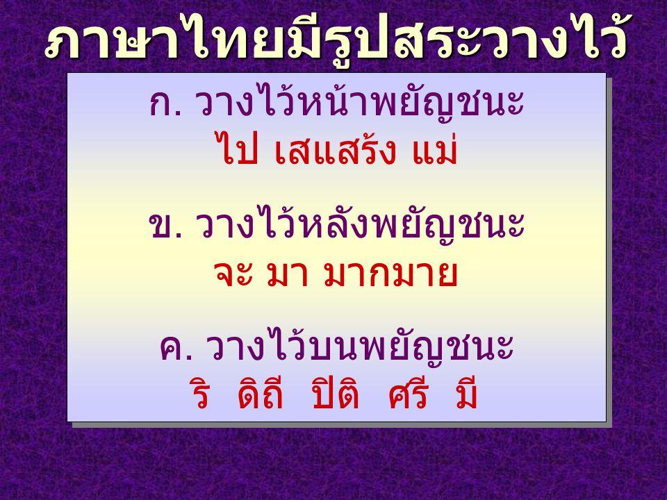 ภาษาไทยมีรูปสระวางไว้ หลายตำแหน่ง ก. วางไว้หน้าพยัญชนะ ไป เสแสร้ง แม่ ข. วางไว้หลังพยัญชนะ จะ มา มากมาย ค. วางไว้บนพยัญชนะ ริ ดิถี ปิติ ศรี มี ก. วางไ