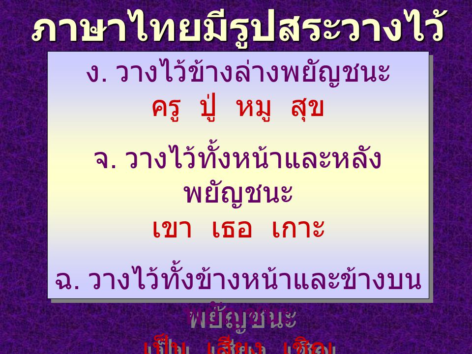ภาษาไทยมีรูปสระวางไว้ หลายตำแหน่ง ง. วางไว้ข้างล่างพยัญชนะ ครู ปู่ หมู สุข จ. วางไว้ทั้งหน้าและหลัง พยัญชนะ เขา เธอ เกาะ ฉ. วางไว้ทั้งข้างหน้าและข้างบ