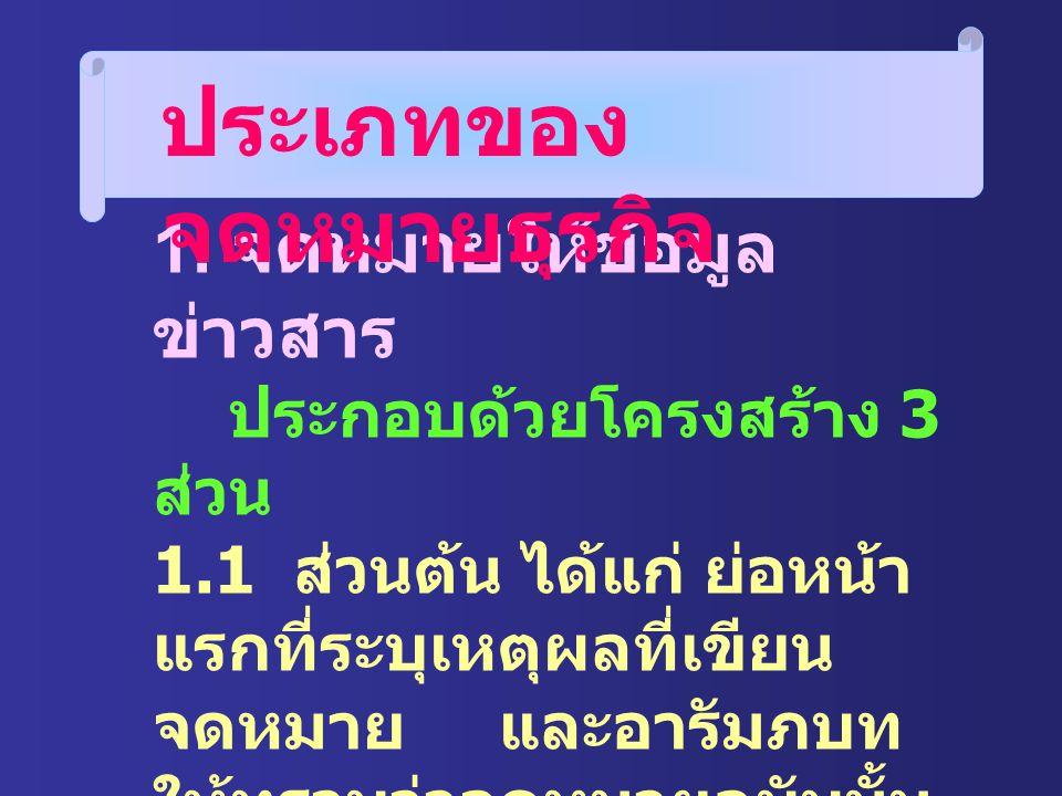 หลักการเขียน จดหมายธุรกิจ 1. ใช้ภาษากะทัดรัด ชัดเจน ตรงไปตรงมา 2. มีข้อความครบถ้วน สมบูรณ์ 3. มีความสุภาพ 4. ถูกต้องตามหลัก ภาษาไทย 5. ไม่มีเรื่องส่วน