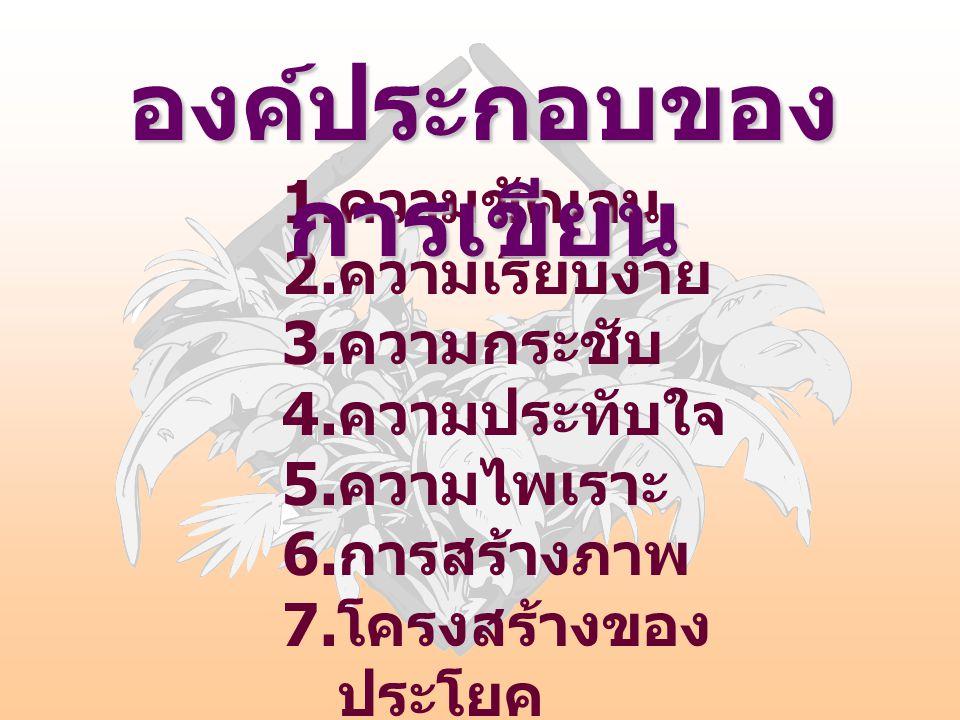 1. ความชัดเจน 2. ความเรียบง่าย 3. ความกระชับ 4. ความประทับใจ 5. ความไพเราะ 6. การสร้างภาพ 7. โครงสร้างของ ประโยค องค์ประกอบของ การเขียน