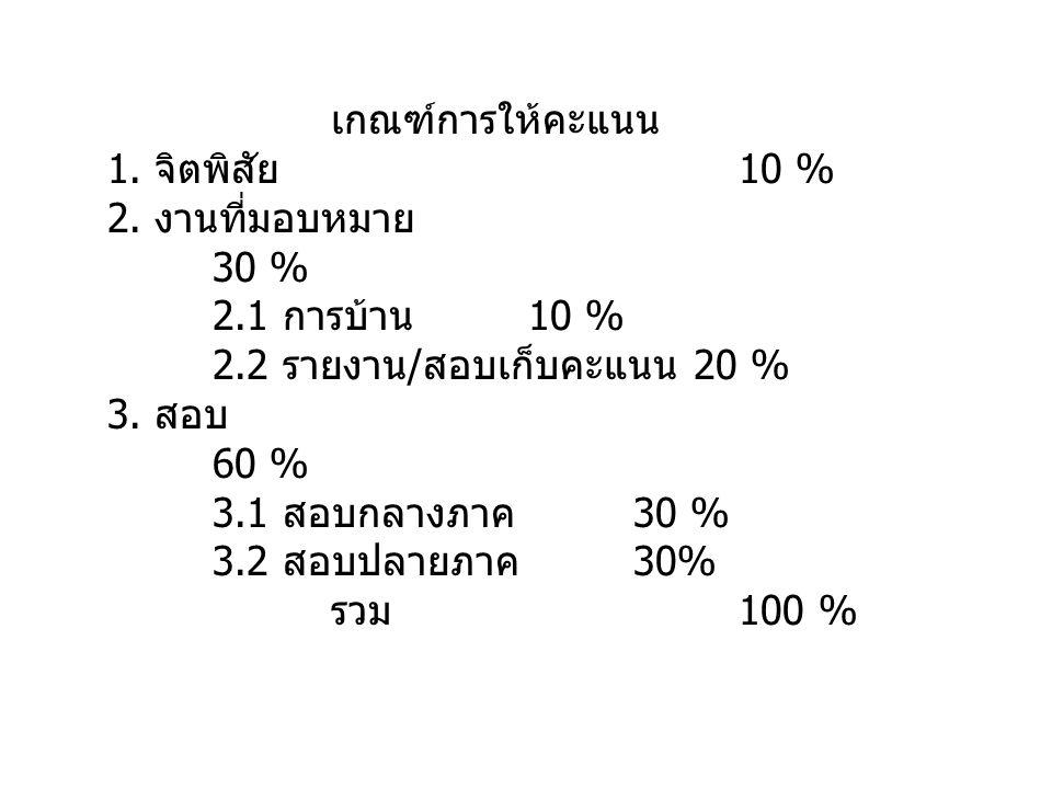 เกณฑ์การให้คะแนน 1. จิตพิสัย 10 % 2. งานที่มอบหมาย 30 % 2.1 การบ้าน 10 % 2.2 รายงาน / สอบเก็บคะแนน 20 % 3. สอบ 60 % 3.1 สอบกลางภาค 30 % 3.2 สอบปลายภาค
