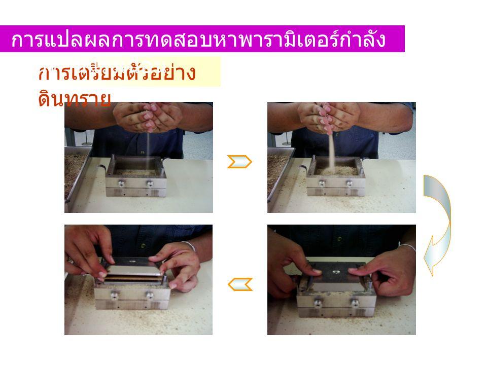 การเตรียมตัวอย่าง ดินทราย การแปลผลการทดสอบหาพารามิเตอร์กำลัง ต้านทานแรงเฉือน