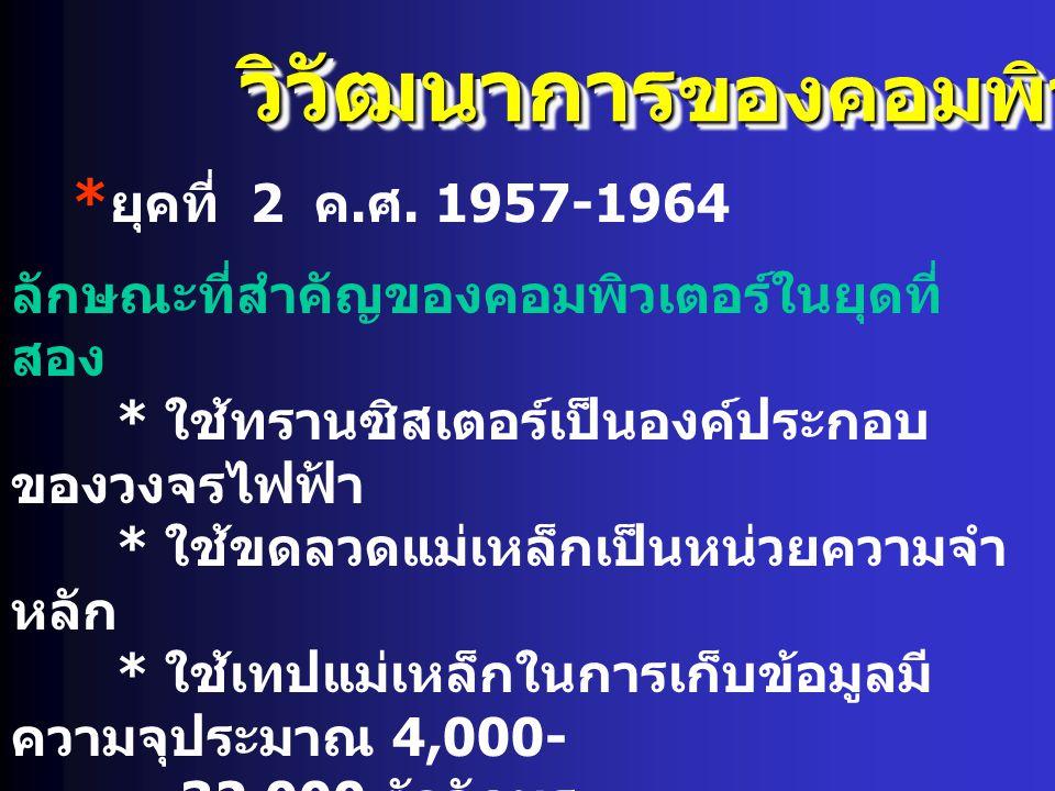 วิวัฒนาการ ของคอมพิวเตอร์ * ยุคที่ 2 ค. ศ. 1957-1964 ลักษณะที่สำคัญของคอมพิวเตอร์ในยุดที่ สอง * ใช้ทรานซิสเตอร์เป็นองค์ประกอบ ของวงจรไฟฟ้า * ใช้ขดลวดแ