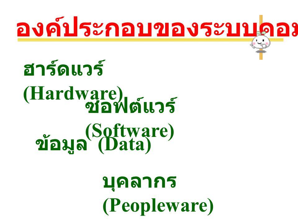 องค์ประกอบของระบบคอมพิวเตอร์ ฮาร์ดแวร์ (Hardware) ซอฟต์แวร์ (Software) ข้อมูล (Data) บุคลากร (Peopleware)