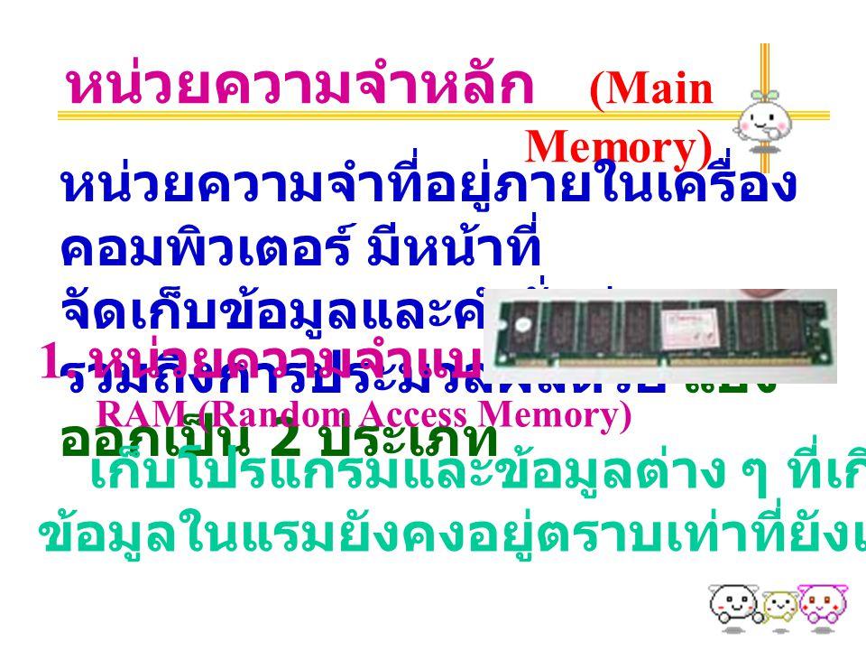 หน่วยความจำหลัก (Main Memory) หน่วยความจำที่อยู่ภายในเครื่อง คอมพิวเตอร์ มีหน้าที่ จัดเก็บข้อมูลและคำสั่งต่าง ๆ รวมถึงการประมวลผลด้วย แบ่ง ออกเป็น 2 ประเภท 1.