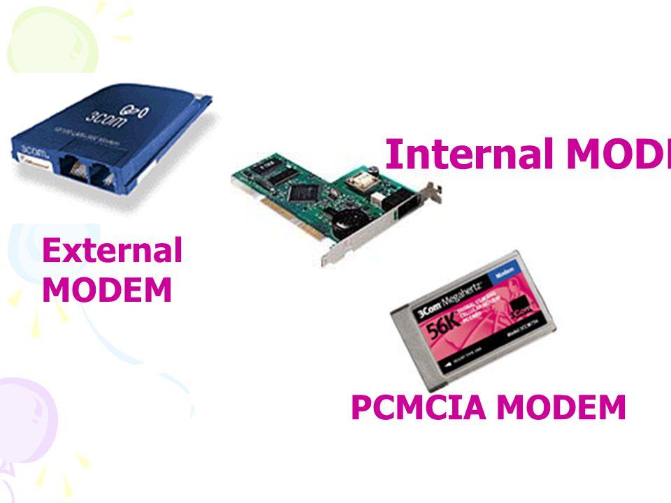 PCMCIA MODEM External MODEM Internal MODEM
