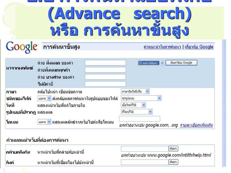 2.2 การค้นหาแบบพิเศษ (Advance search) หรือ การค้นหาขั้นสูง