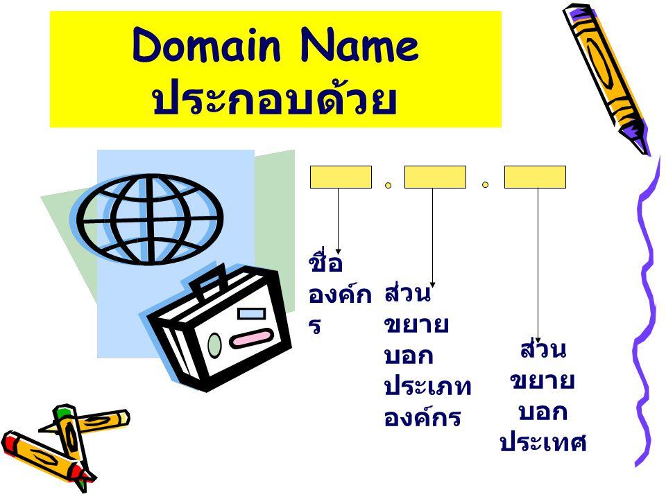 Domain Name( ต่อ ) g ชื่อองค์กร เช่น A-Z 0-9 g ส่วนขยายบอกประเภทองค์กร g com หรือ co องค์กรเอกชน g edu หรือ ac สถาบันการศึกษา g gov หรือ go องค์กรของรัฐ g mil หรือ mi องค์กรทางทหาร g org หรือ or องค์กรไม่แสวงหาผลกำไร g net องค์กรให้บริการเครือข่าย g ส่วนขยายบอกประเทศ เช่น th ( ประเทศ ไทย ), uk ( อังกฤษ ), us ( อเมริกา )