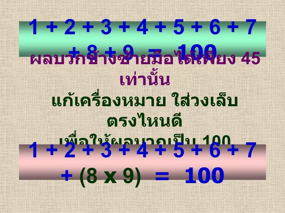 1 + 2 + 3 + 4 + 5 + 6 + 7 + 8 + 9 = 100 ผลบวกข้างซ้ายมือได้เพียง 45 เท่านั้น แก้เครื่องหมาย ใส่วงเล็บ ตรงไหนดี เพื่อให้ผลบวกเป็น 100 1 + 2 + 3 + 4 + 5