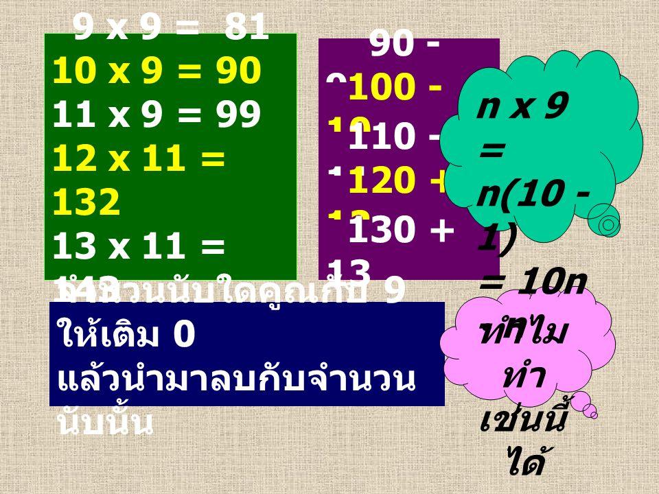 9 x 9 = 81 10 x 9 = 90 11 x 9 = 99 12 x 11 = 132 13 x 11 = 143 90 - 9 100 - 10 110 - 11 120 + 12 130 + 13 จำนวนนับใดคูณกับ 9 ให้เติม 0 แล้วนำมาลบกับจำ