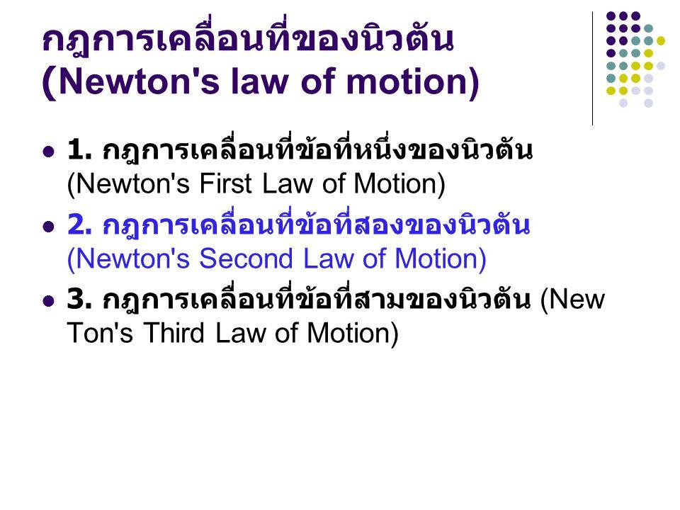 กฎการเคลื่อนที่ของนิวตัน (Newton's law of motion) 1. กฎการเคลื่อนที่ข้อที่หนึ่งของนิวตัน (Newton's First Law of Motion) 2. กฎการเคลื่อนที่ข้อที่สองของ