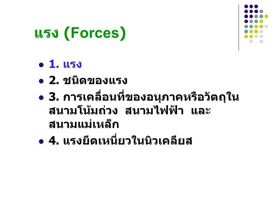 แรง (Forces) 1. แรง 2. ชนิดของแรง 3. การเคลื่อนที่ของอนุภาคหรือวัตถุใน สนามโน้มถ่วง สนามไฟฟ้า และ สนามแม่เหล็ก 4. แรงยึดเหนี่ยวในนิวเคลียส