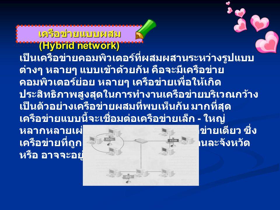 เครือข่ายแบบผสม (Hybrid network) เป็นเครือข่ายคอมพิวเตอร์ที่ผสมผสานระหว่างรูปแบบ ต่างๆ หลายๆ แบบเข้าด้วยกัน คือจะมีเครือข่าย คอมพิวเตอร์ย่อย หลายๆ เครือข่ายเพื่อให้เกิด ประสิทธิภาพสูงสุดในการทำงานเครือข่ายบริเวณกว้าง เป็นตัวอย่างเครือข่ายผสมที่พบเห็นกัน มากที่สุด เครือข่ายแบบนี้จะเชื่อมต่อเครือข่ายเล็ก - ใหญ่ หลากหลายเผ่า พันธ์เข้าด้วยกันเป็นเครือข่ายเดียว ซึ่ง เครือข่ายที่ถูกเชื่อมต่ออาจจะอยู่ห่างกันคนละจังหวัด หรือ อาจจะอยู่คนละประเทศก็เป็นได้