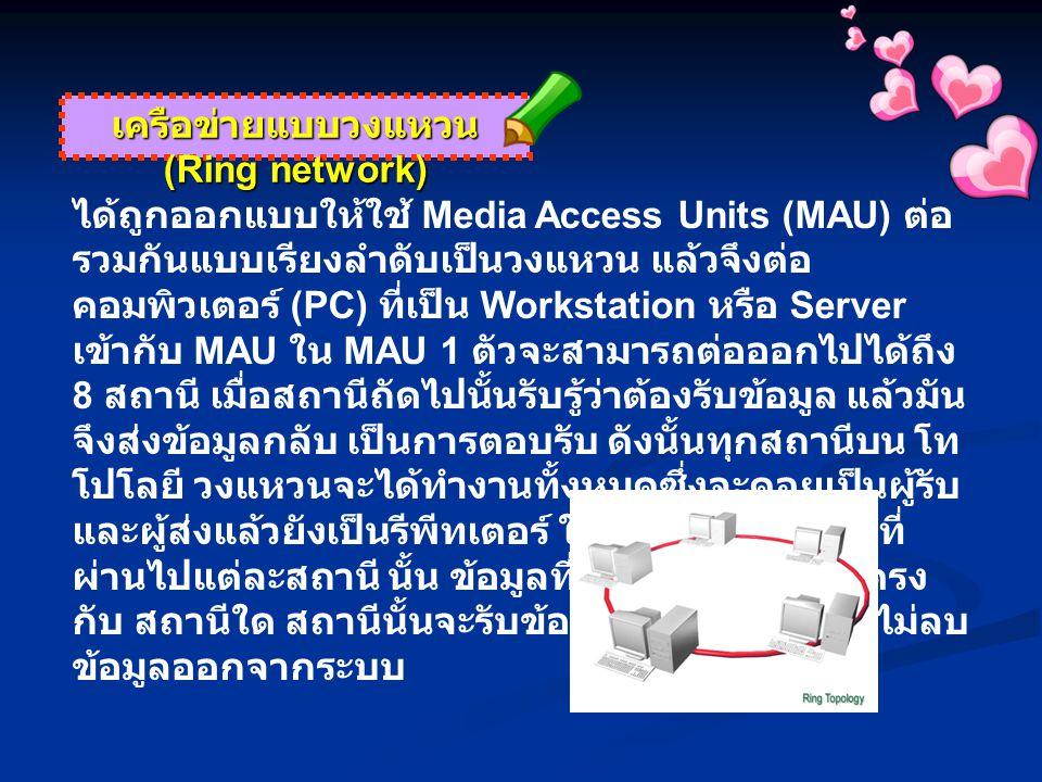 เครือข่ายแบบวงแหวน (Ring network) ได้ถูกออกแบบให้ใช้ Media Access Units (MAU) ต่อ รวมกันแบบเรียงลำดับเป็นวงแหวน แล้วจึงต่อ คอมพิวเตอร์ (PC) ที่เป็น Workstation หรือ Server เข้ากับ MAU ใน MAU 1 ตัวจะสามารถต่อออกไปได้ถึง 8 สถานี เมื่อสถานีถัดไปนั้นรับรู้ว่าต้องรับข้อมูล แล้วมัน จึงส่งข้อมูลกลับ เป็นการตอบรับ ดังนั้นทุกสถานีบน โท โปโลยี วงแหวนจะได้ทำงานทั้งหมดซึ่งจะคอยเป็นผู้รับ และผู้ส่งแล้วยังเป็นรีพีทเตอร์ ในตัวอีกด้วย ข้อมูลที่ ผ่านไปแต่ละสถานี นั้น ข้อมูลที่เป็นตำแหน่งที่อยู่ตรง กับ สถานีใด สถานีนั้นจะรับข้อมูลเก็บไว้ แต่มันจะไม่ลบ ข้อมูลออกจากระบบ